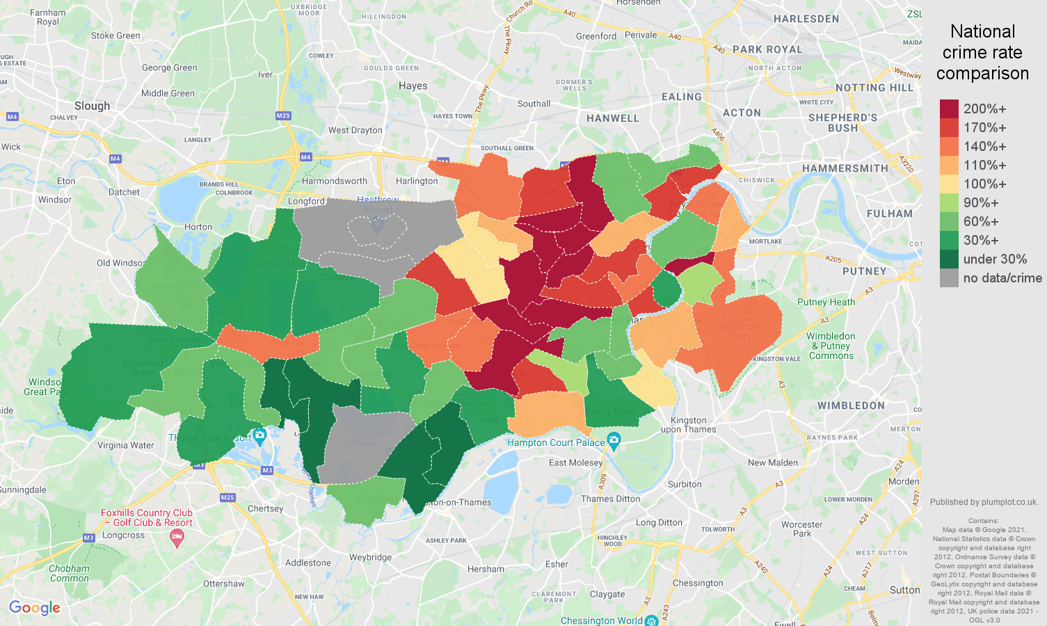 Twickenham robbery crime rate comparison map