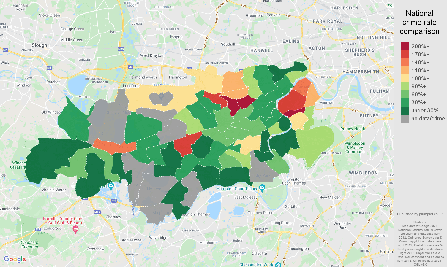 Twickenham theft from the person crime rate comparison map