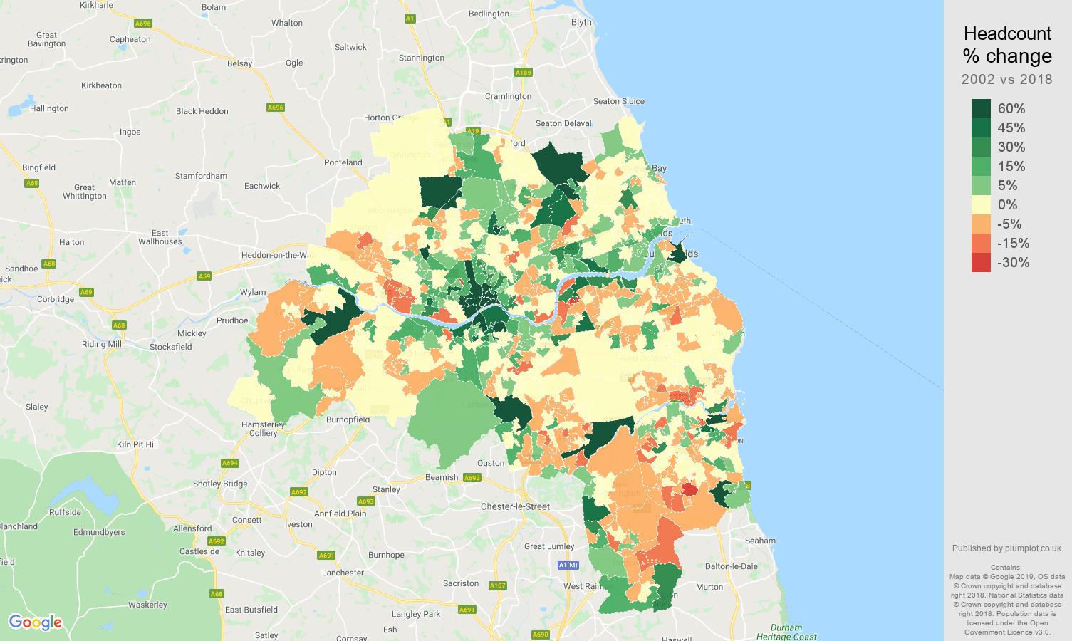 Tyne and Wear headcount change map