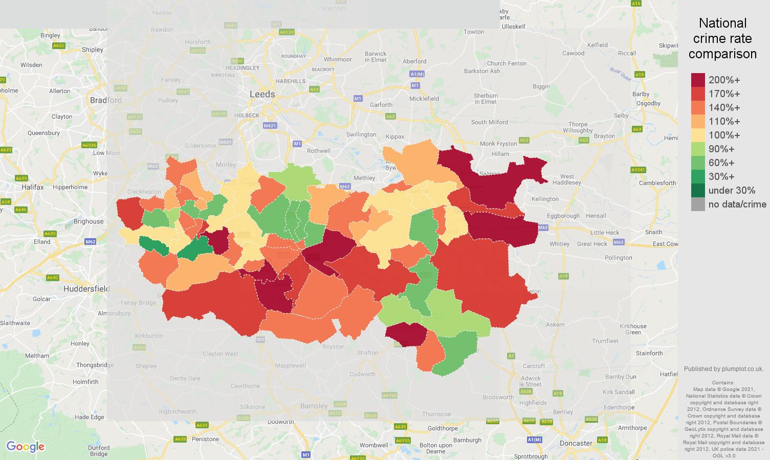Wakefield burglary crime rate comparison map