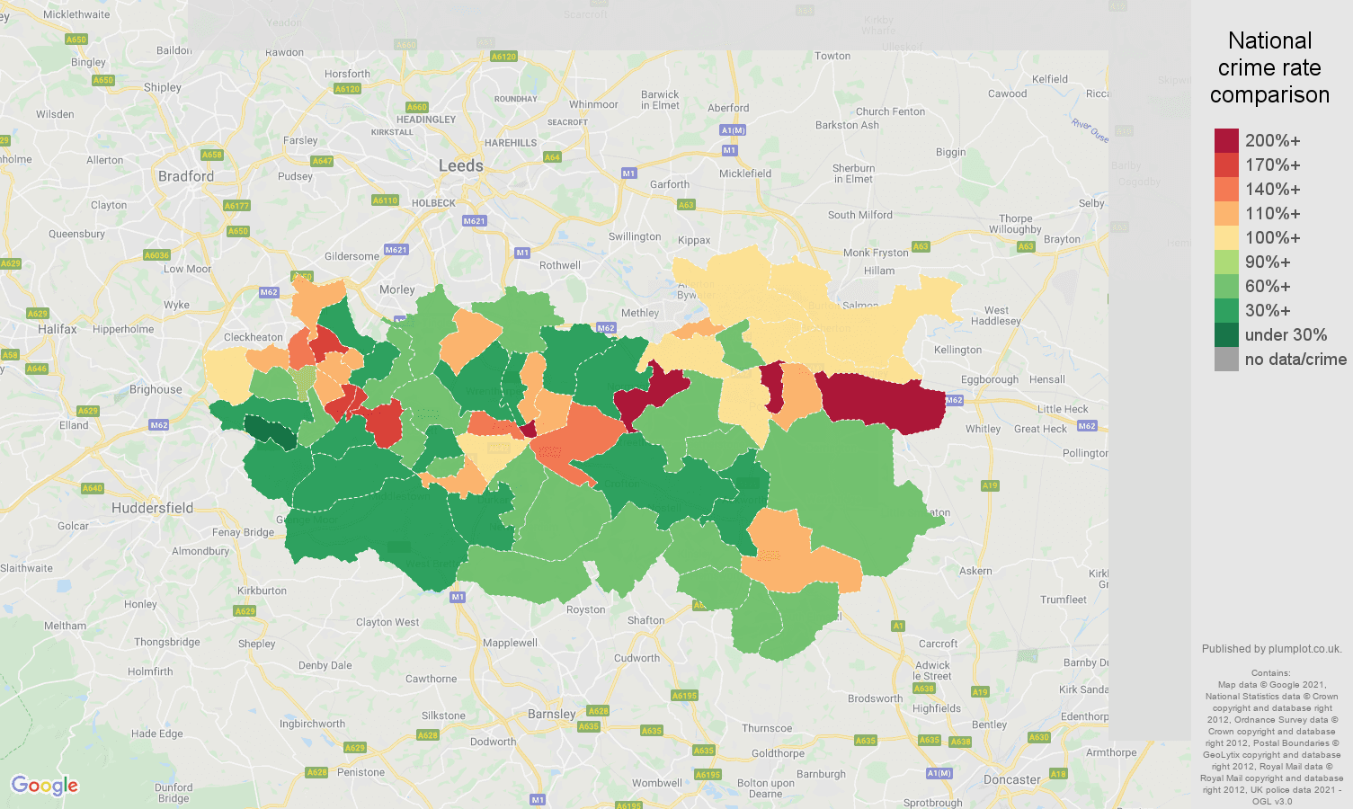 Wakefield drugs crime rate comparison map