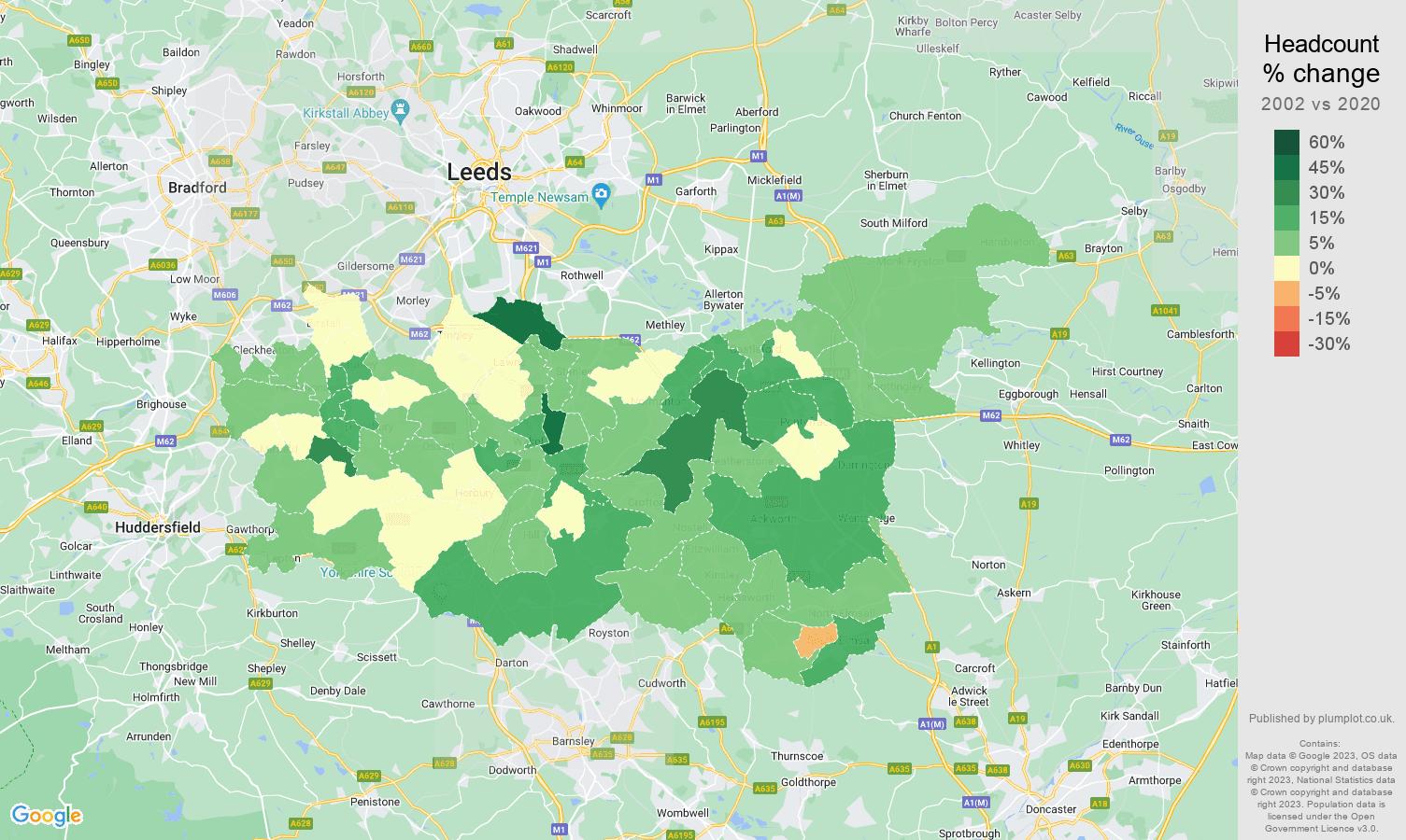 Wakefield headcount change map