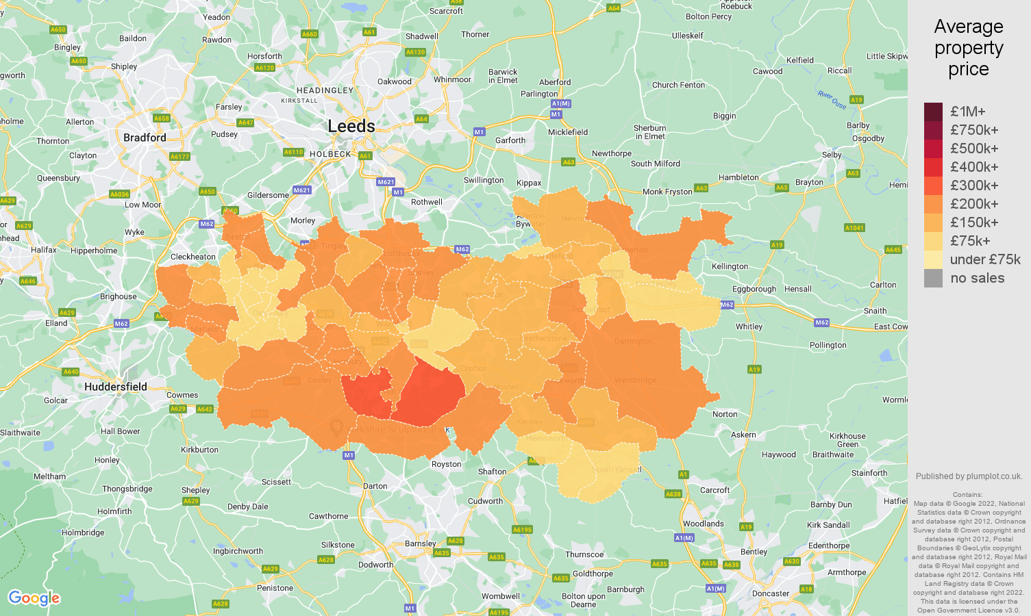 Wakefield house prices map