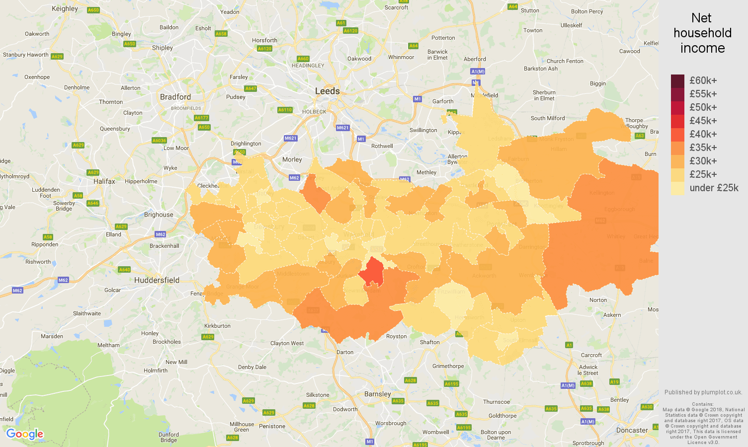 Wakefield net household income map
