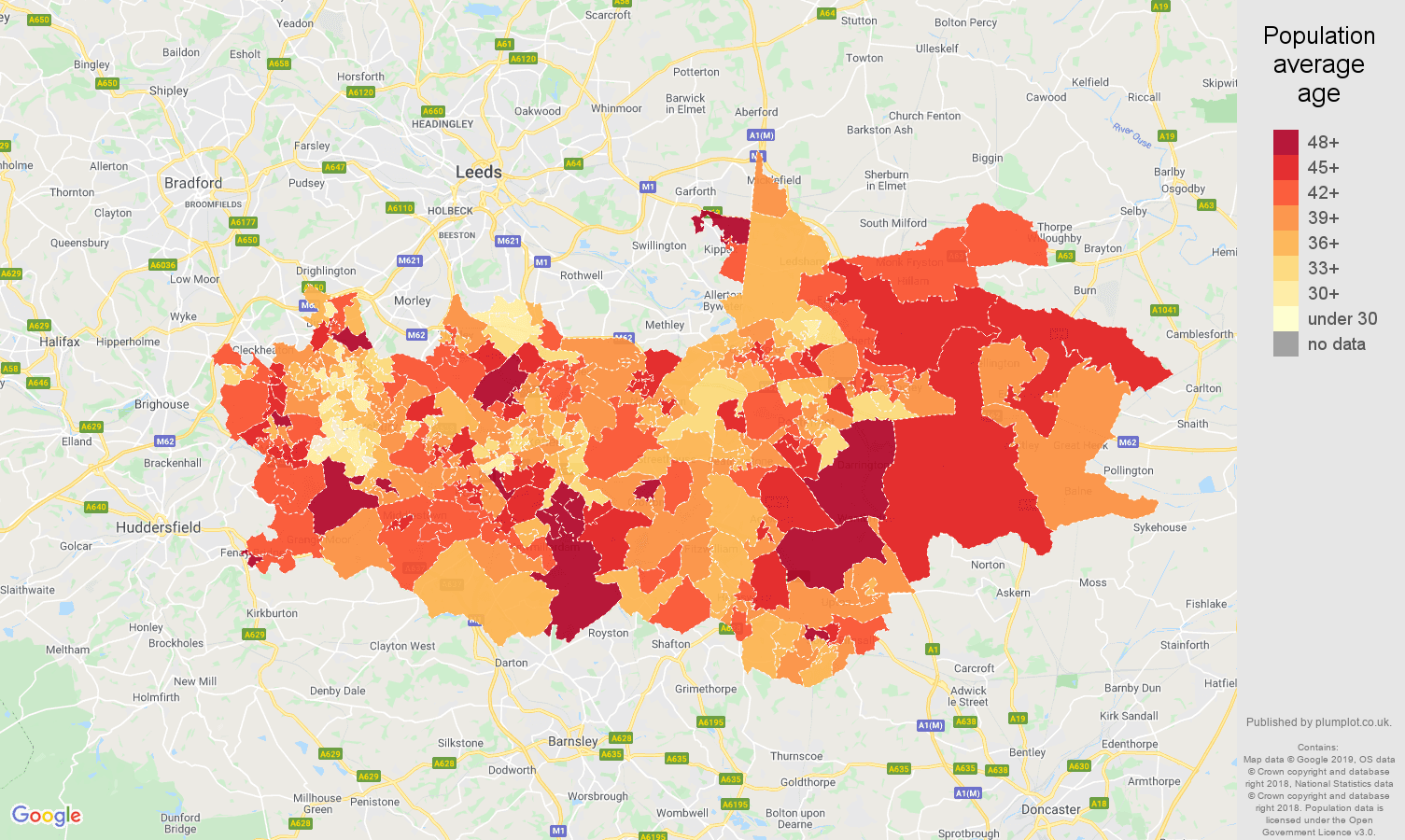 Wakefield population average age map