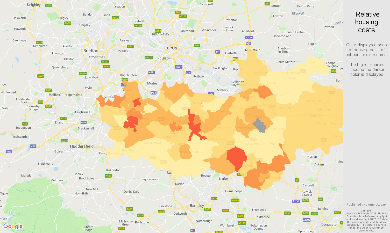 Wakefield relative housing costs map