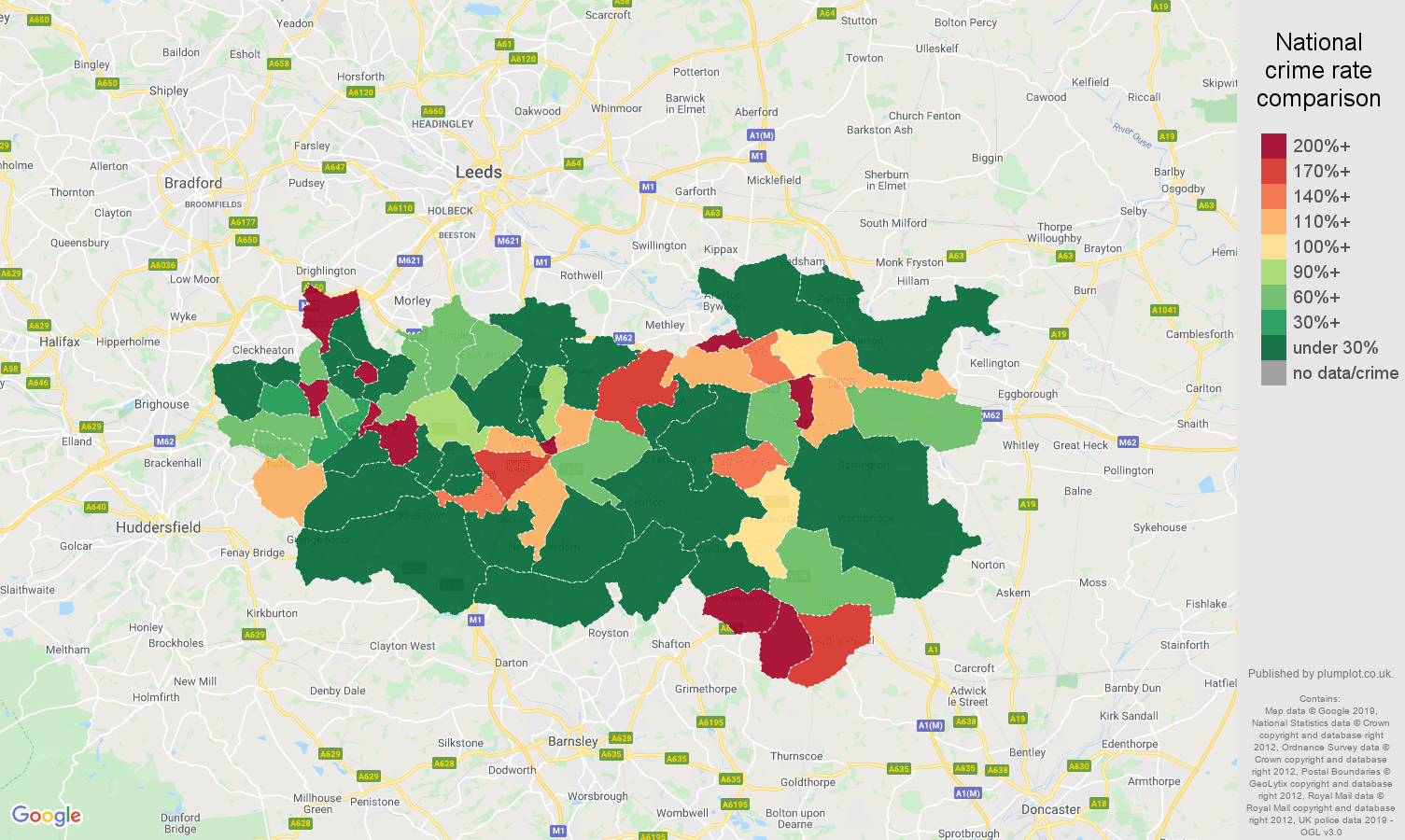 Wakefield shoplifting crime rate comparison map