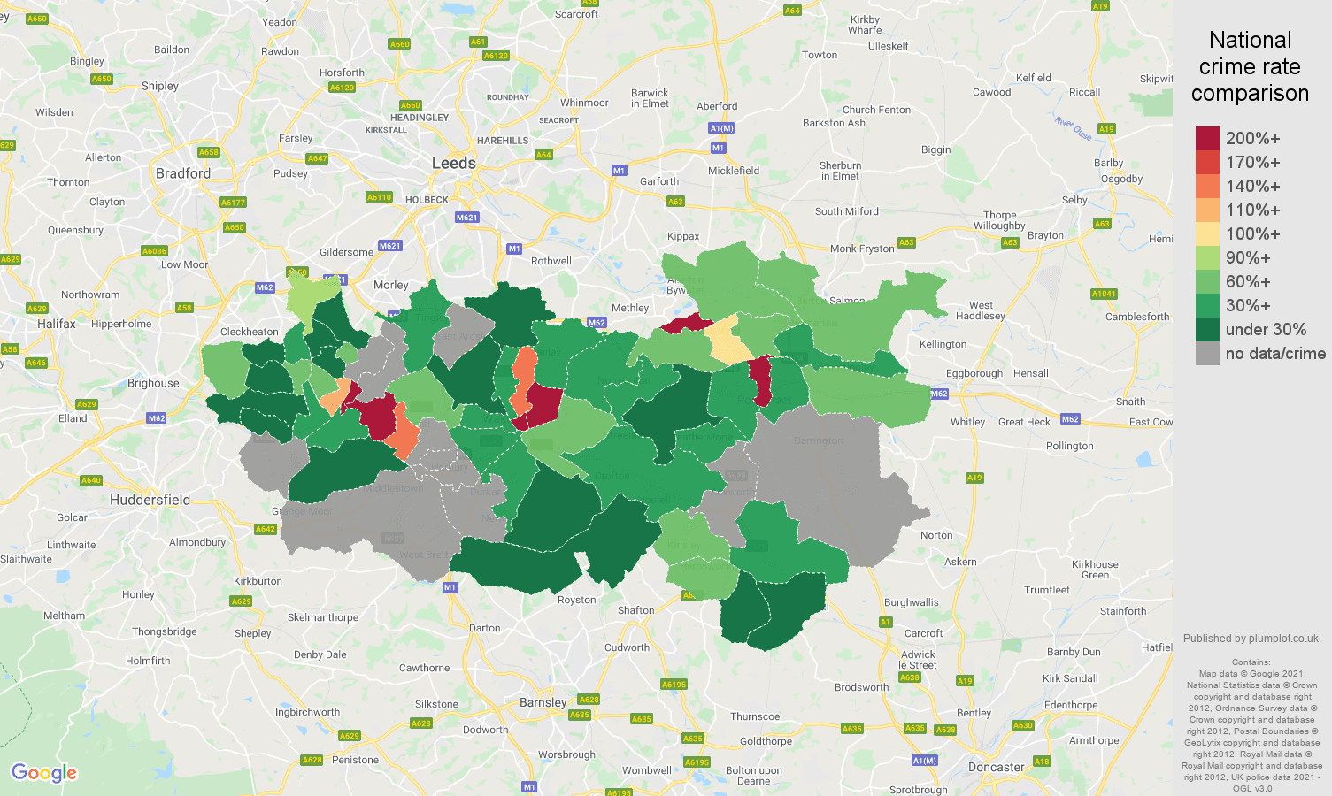 Wakefield theft from the person crime rate comparison map