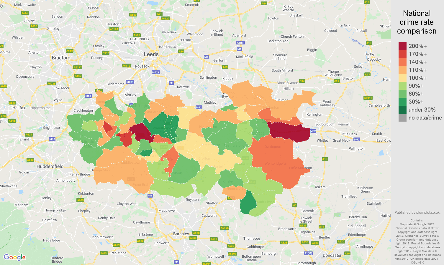 Wakefield vehicle crime rate comparison map
