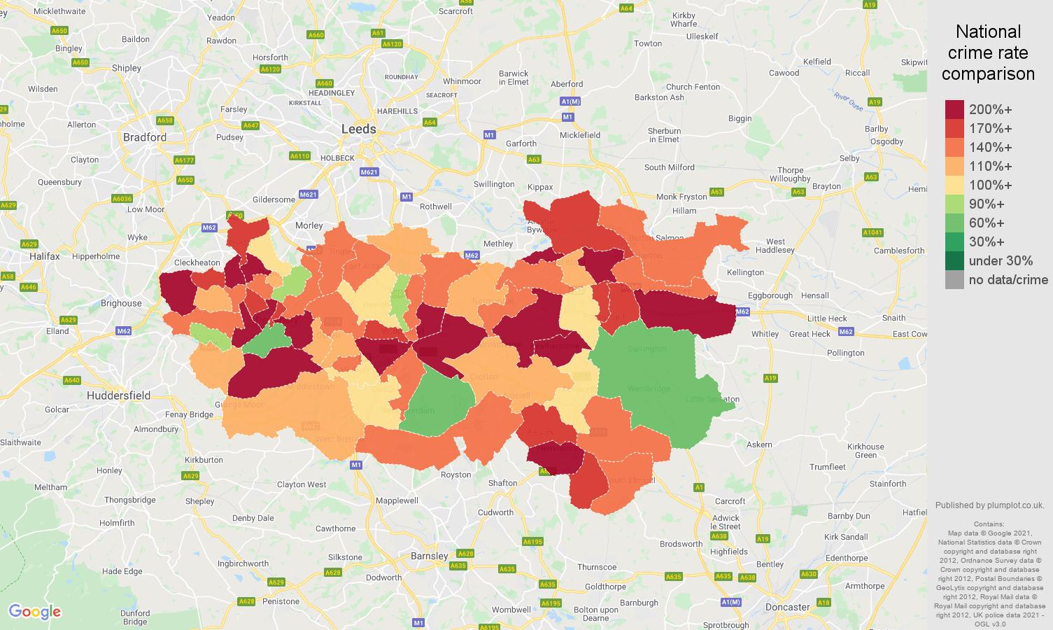 Wakefield violent crime rate comparison map