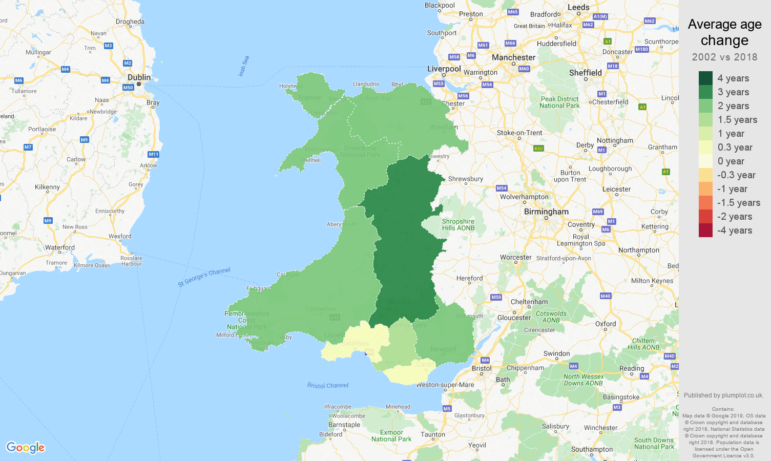 Wales average age change map