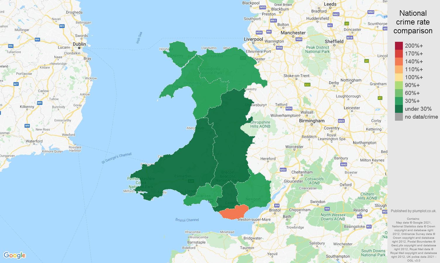 Wales bicycle theft crime rate comparison map