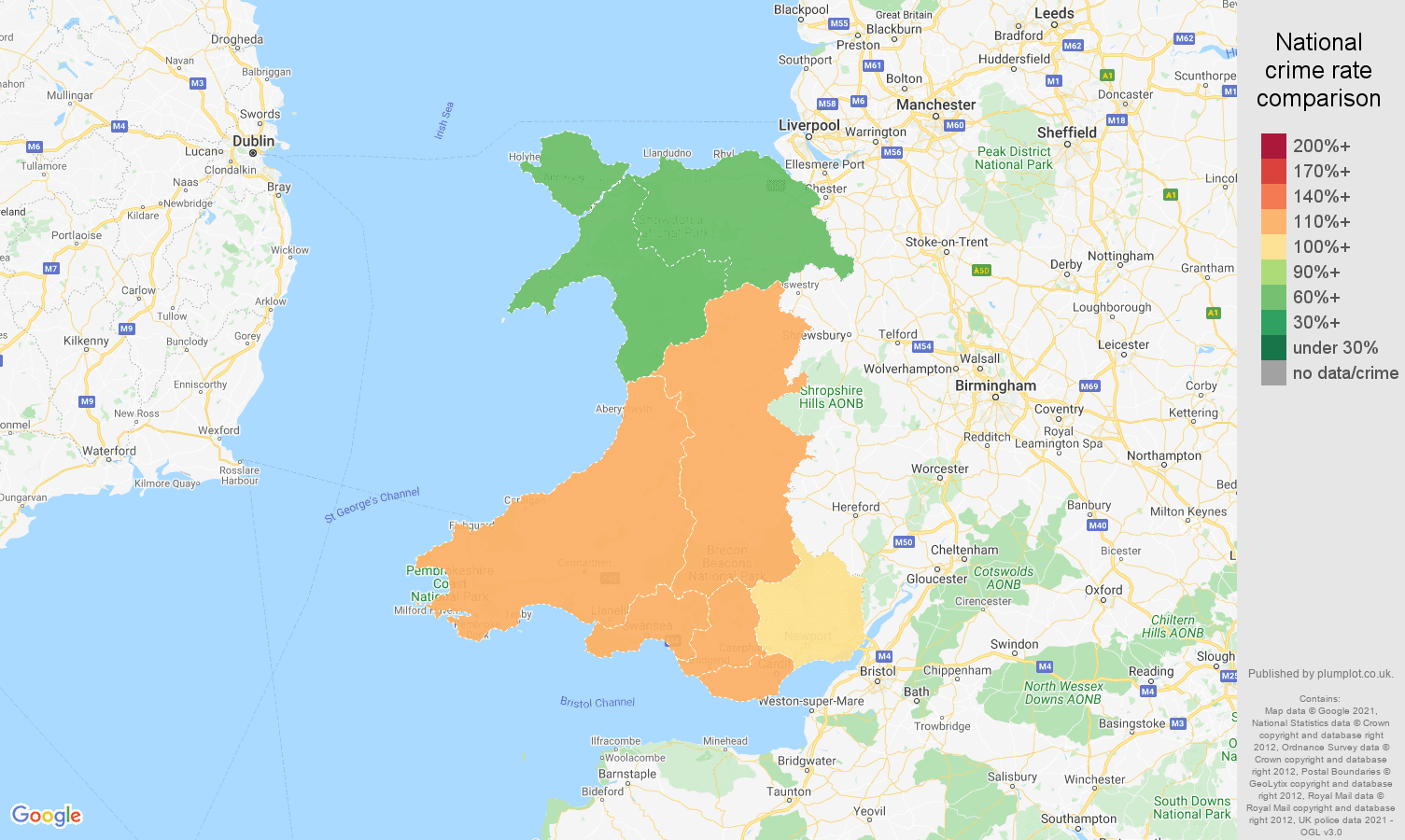 Wales drugs crime rate comparison map
