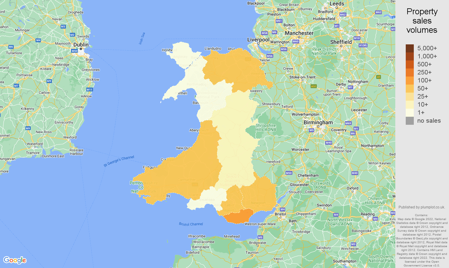 Wales map of sales of new properties