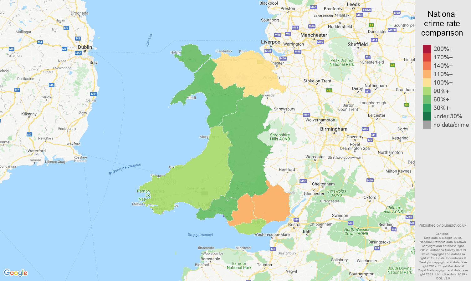 Wales other crime rate comparison map