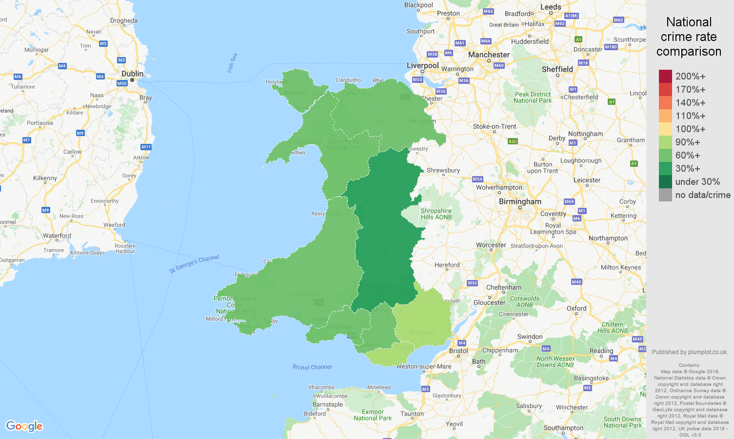 Wales other theft crime rate comparison map