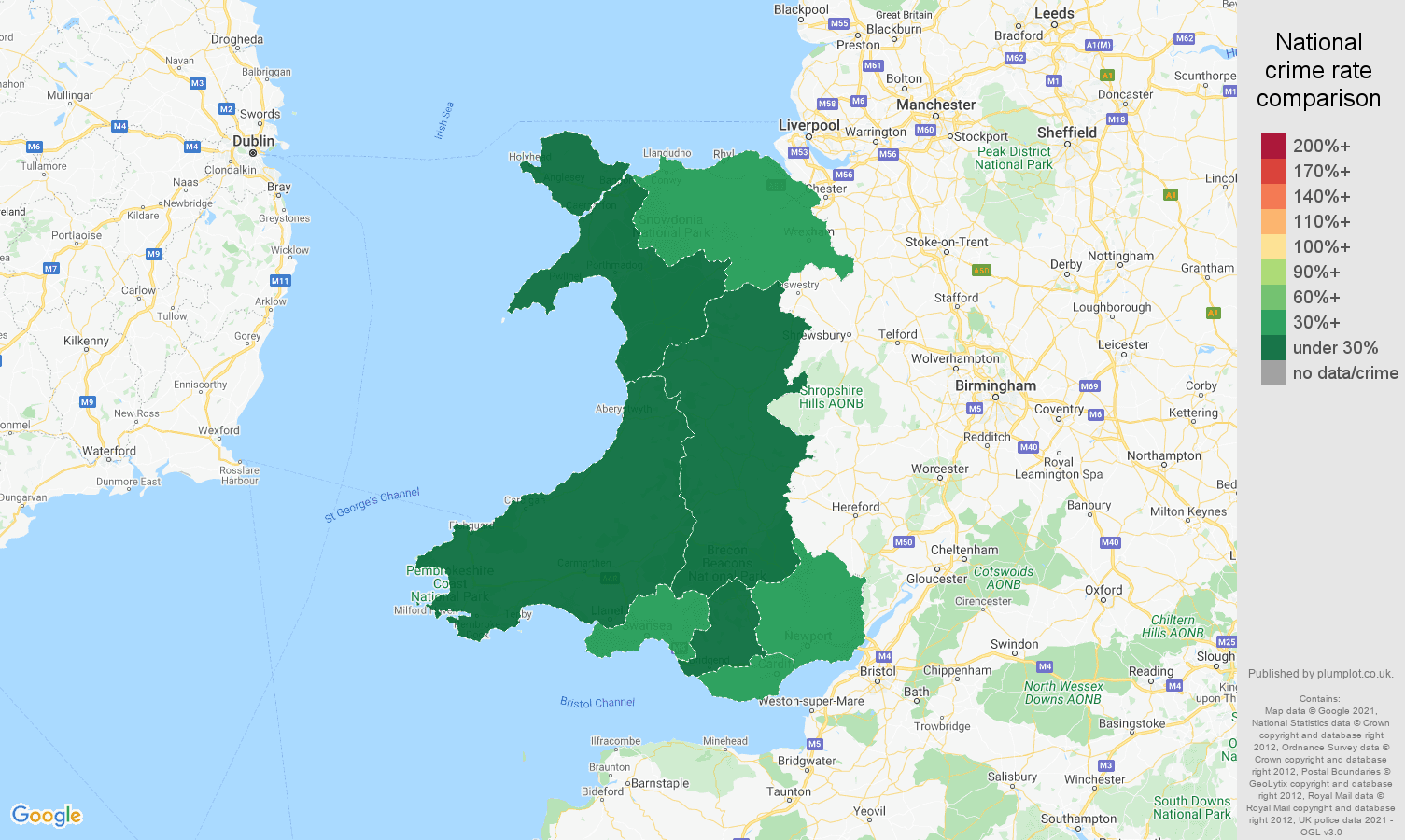 Wales robbery crime rate comparison map