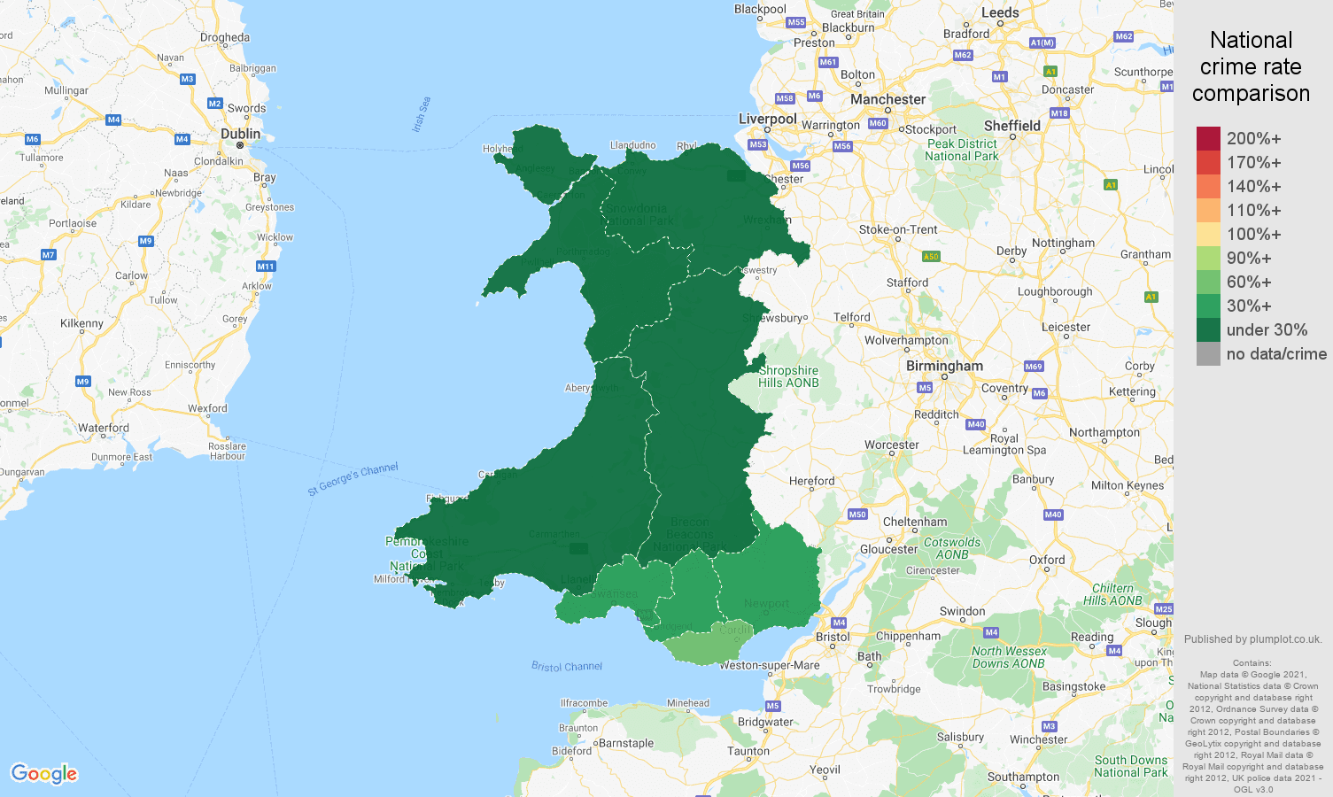 Wales theft from the person crime rate comparison map