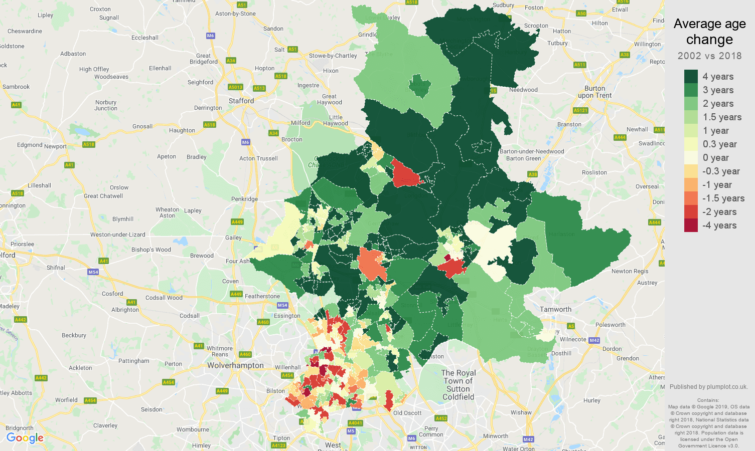 Walsall average age change map
