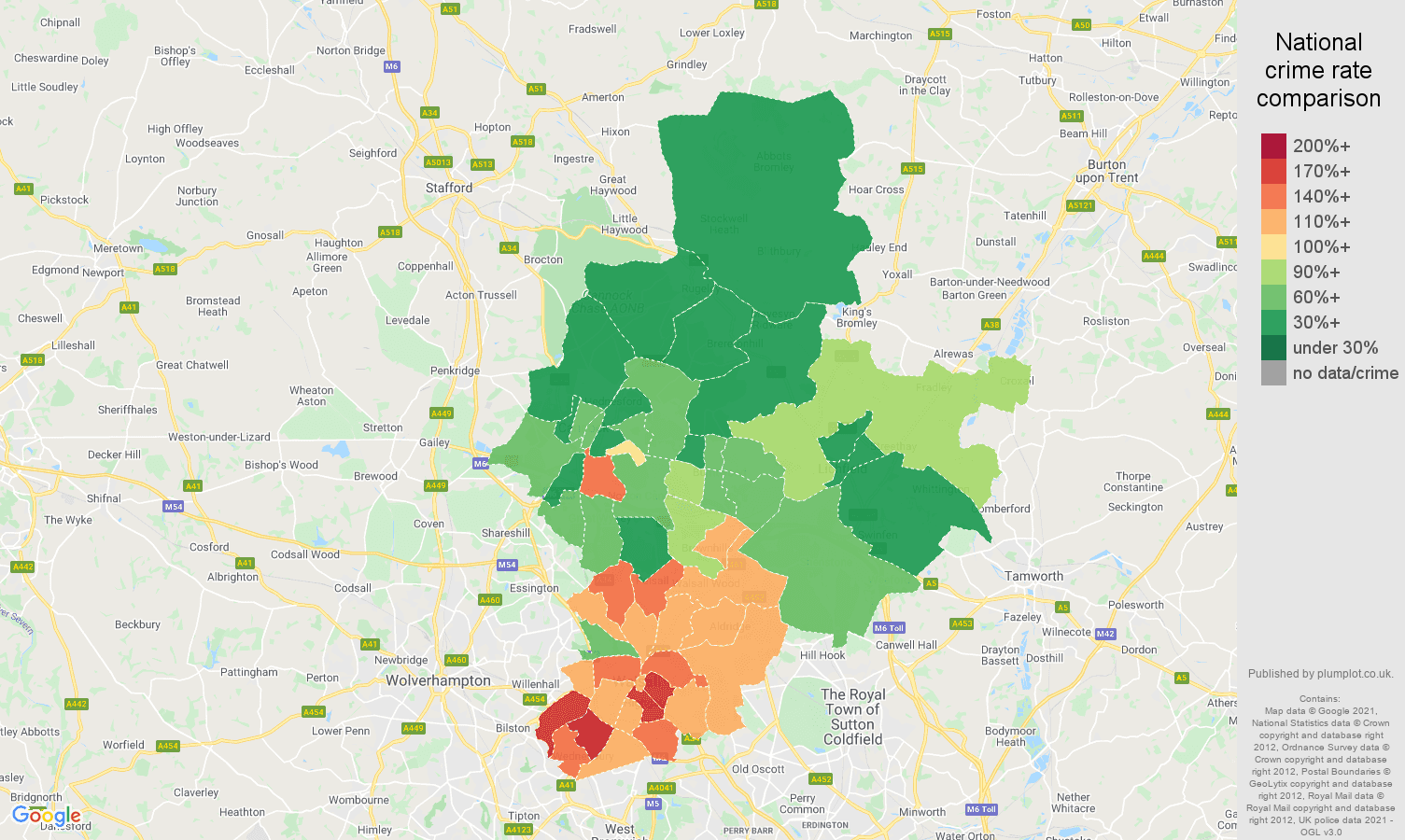 Walsall burglary crime statistics in maps and graphs