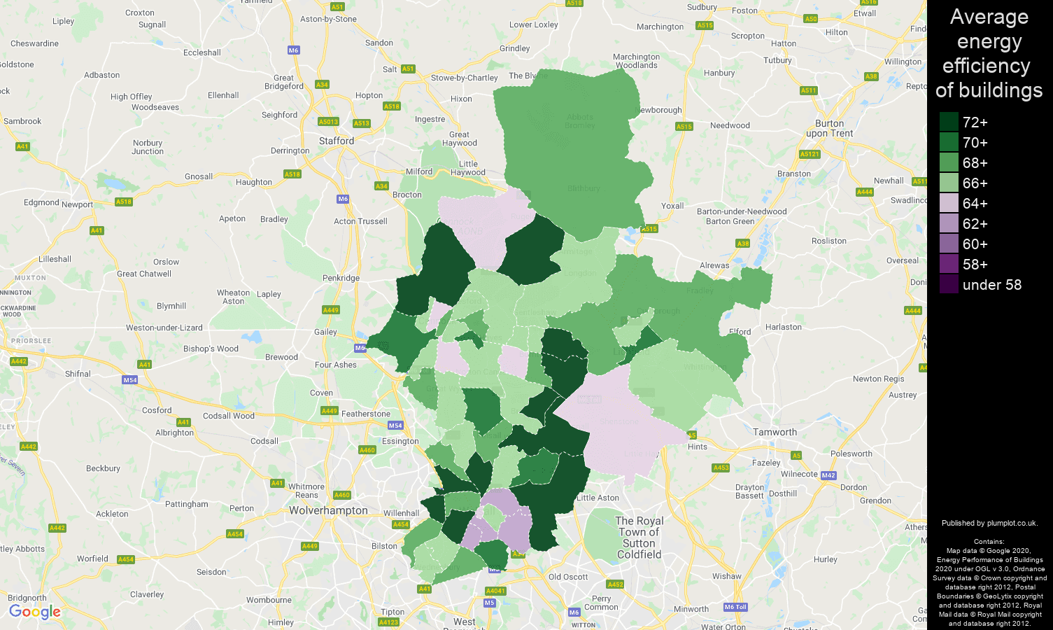 Walsall map of energy efficiency of flats
