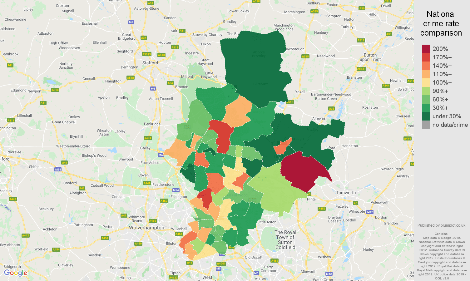 Walsall other crime rate comparison map