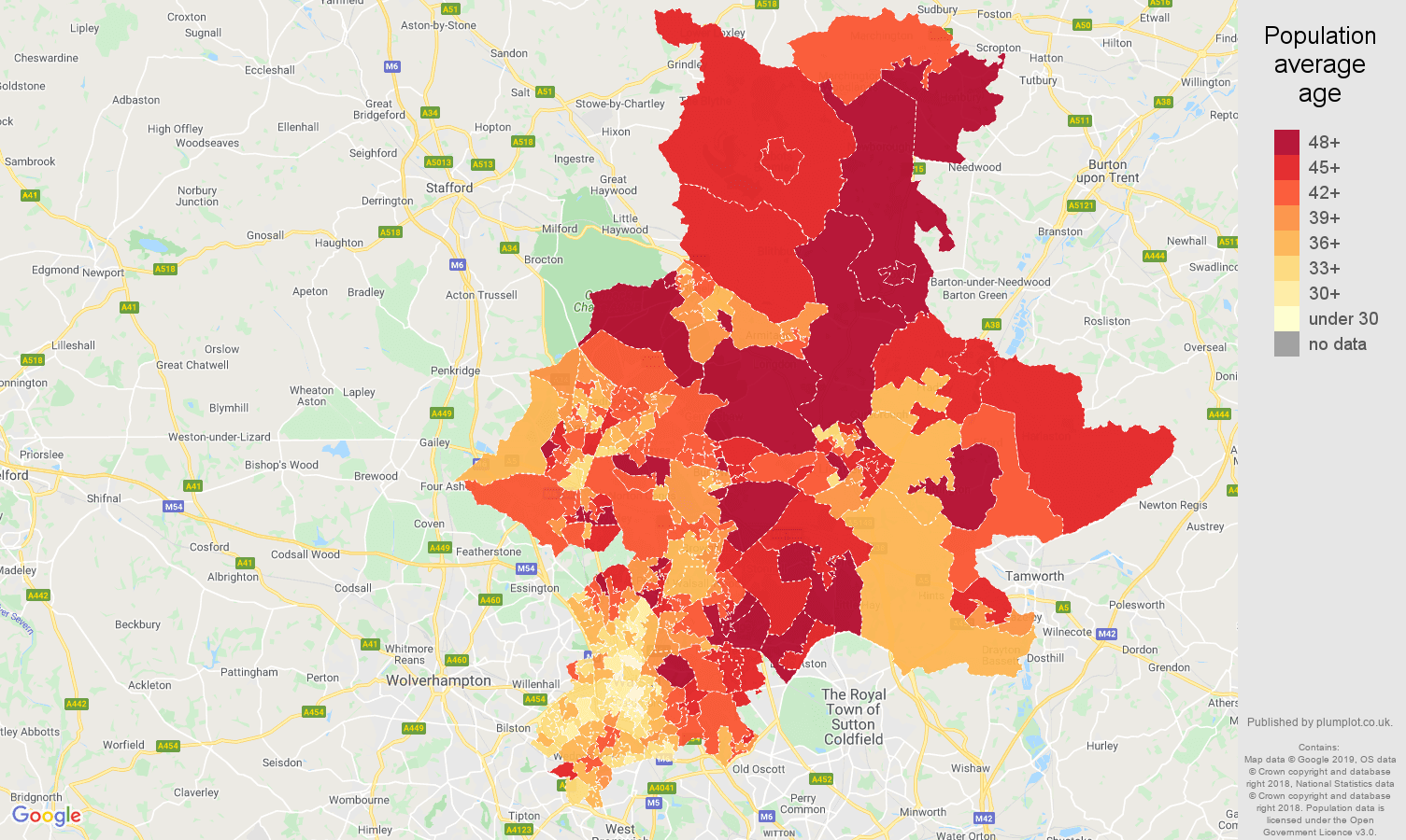 Walsall population average age map