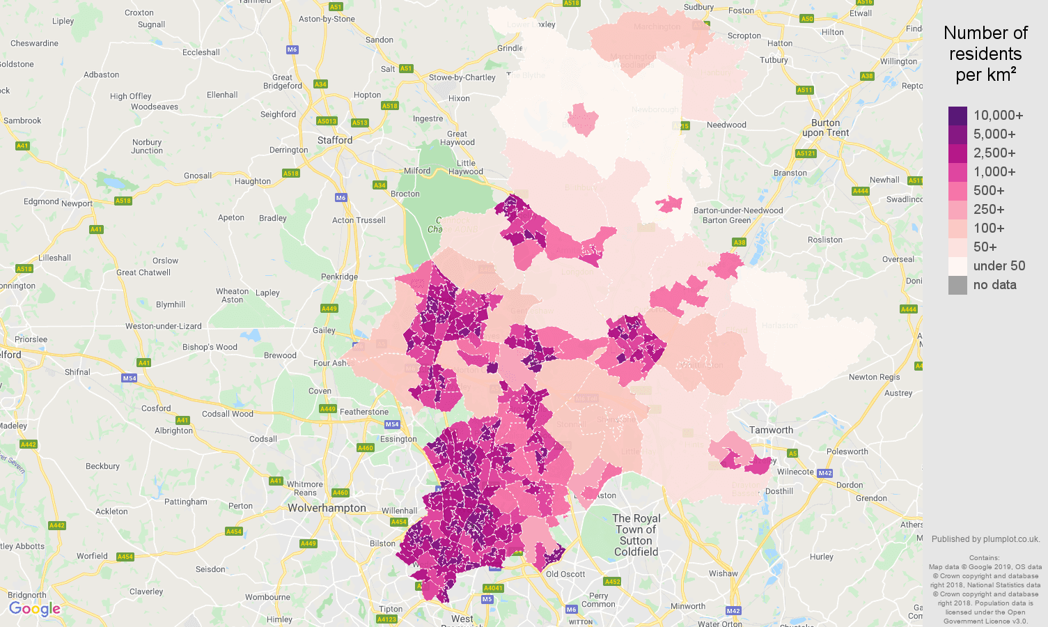 Walsall population stats in maps and graphs