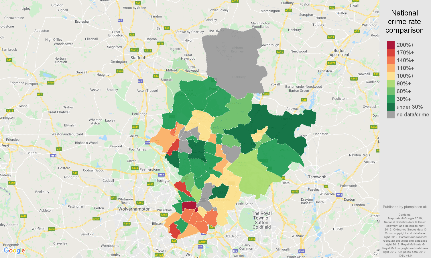 Walsall possession of weapons crime rate comparison map