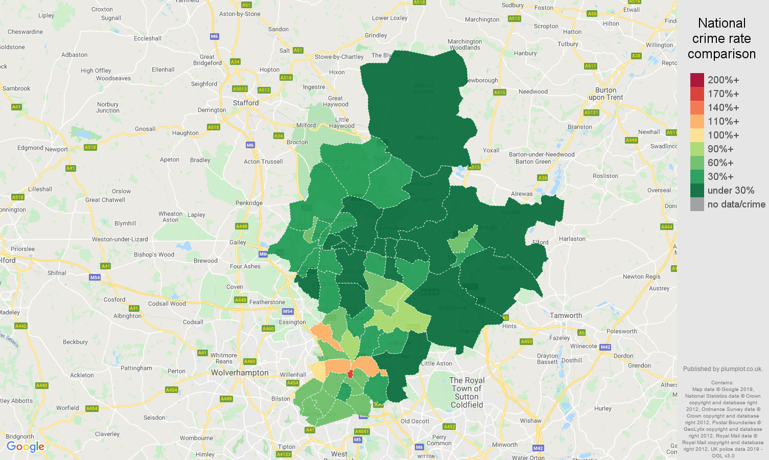 Walsall public order crime rate comparison map