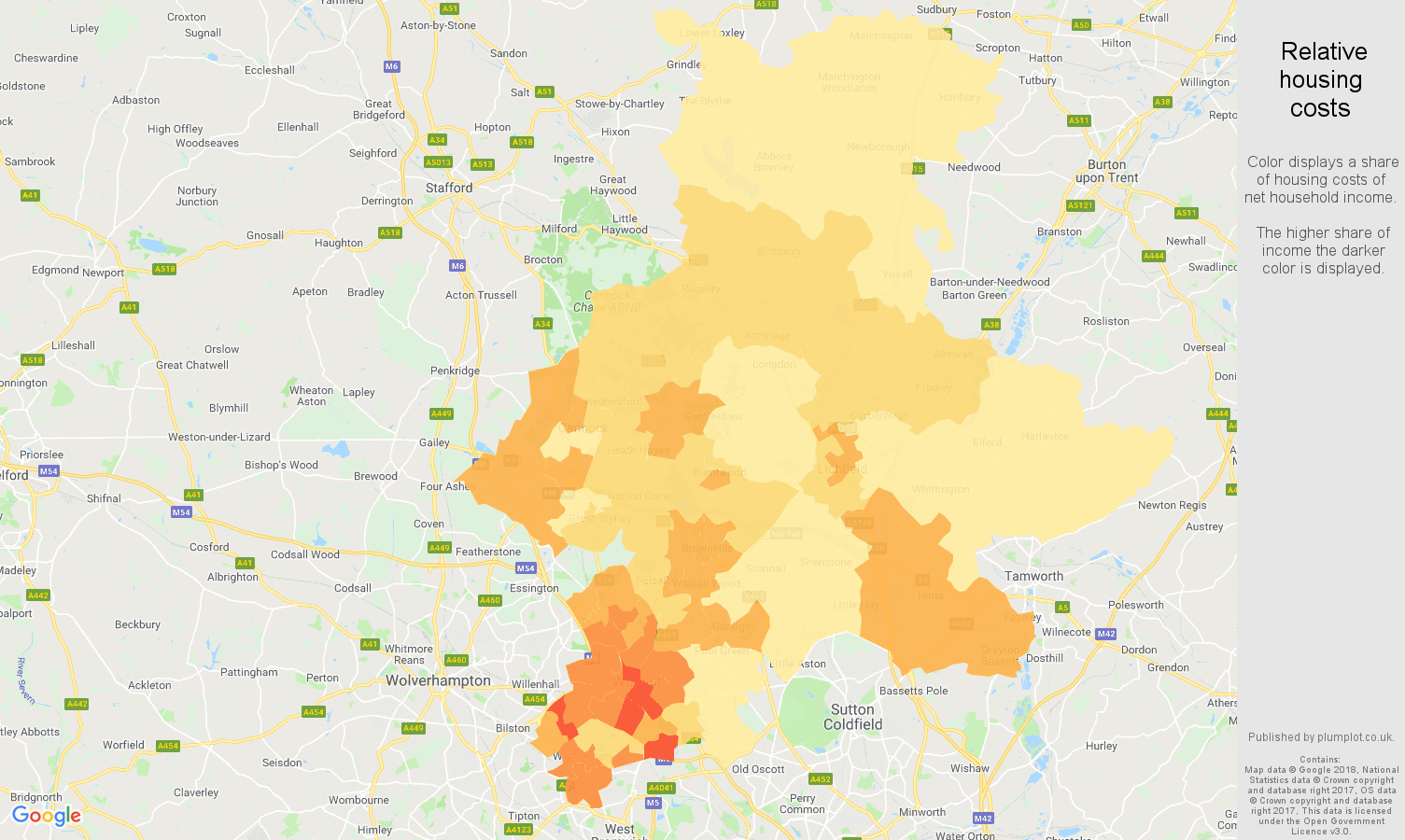 Walsall relative housing costs map