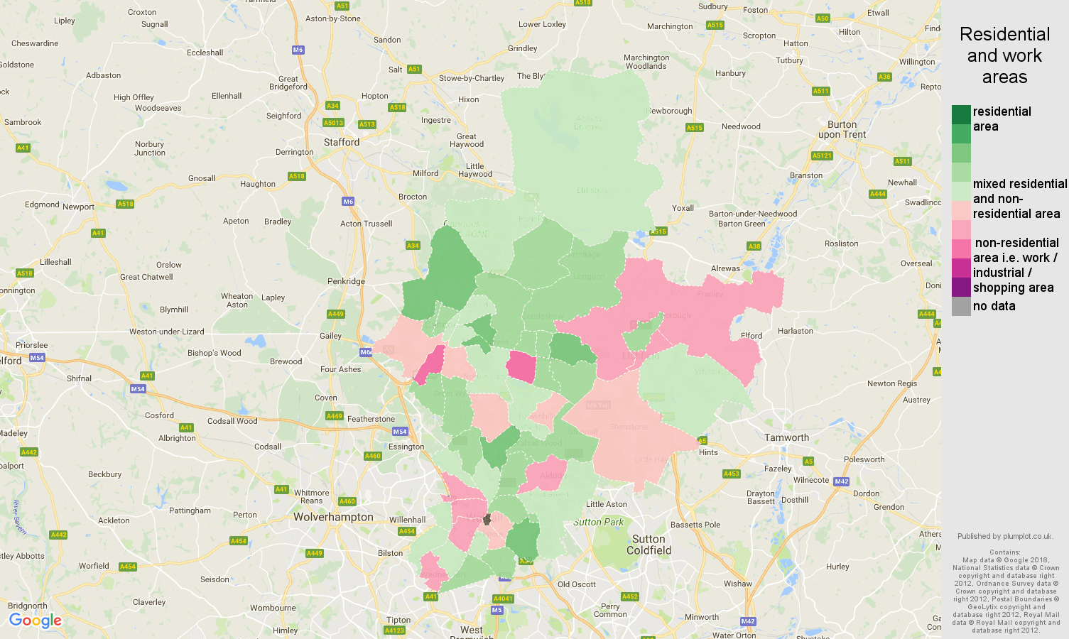 Walsall residential areas map