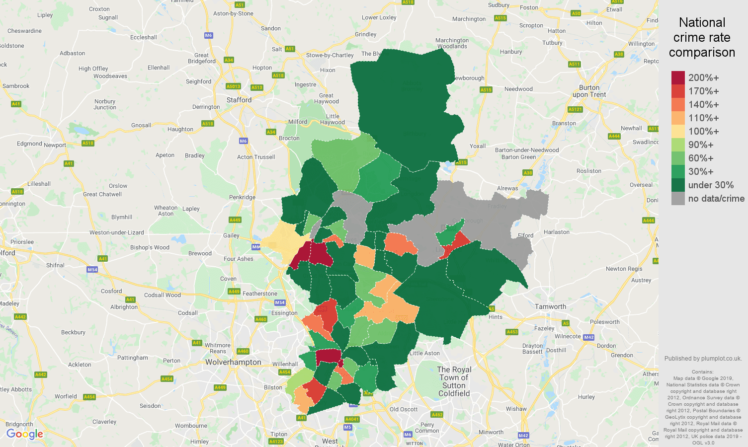 Walsall shoplifting crime rate comparison map
