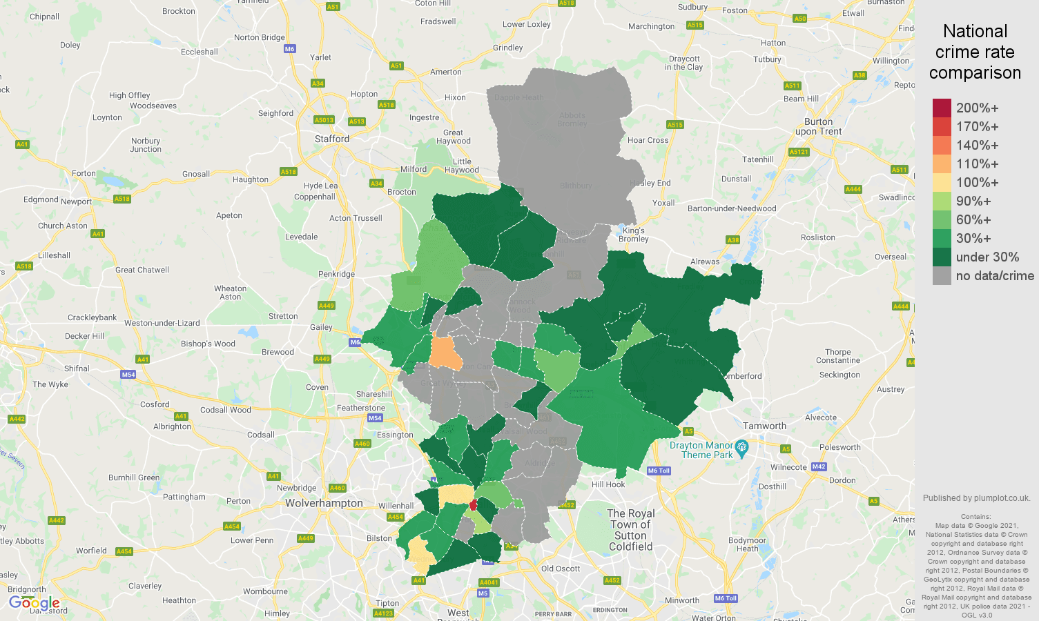 Walsall theft from the person crime rate comparison map
