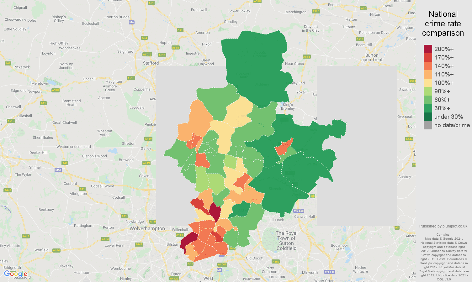 Walsall violent crime rate comparison map