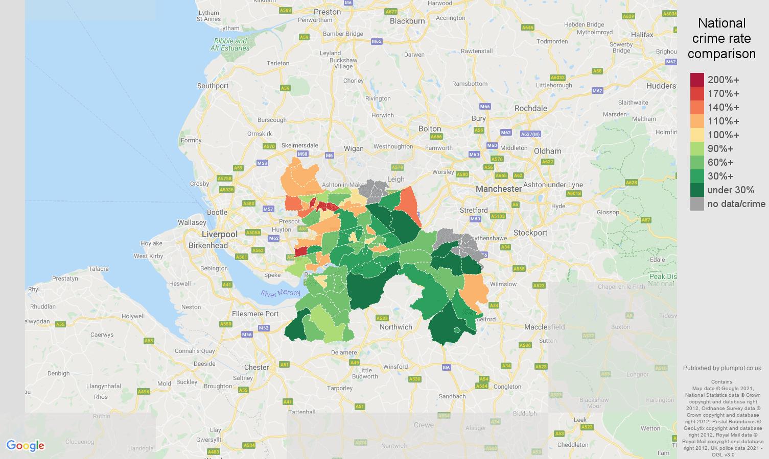 Warrington burglary crime rate comparison map