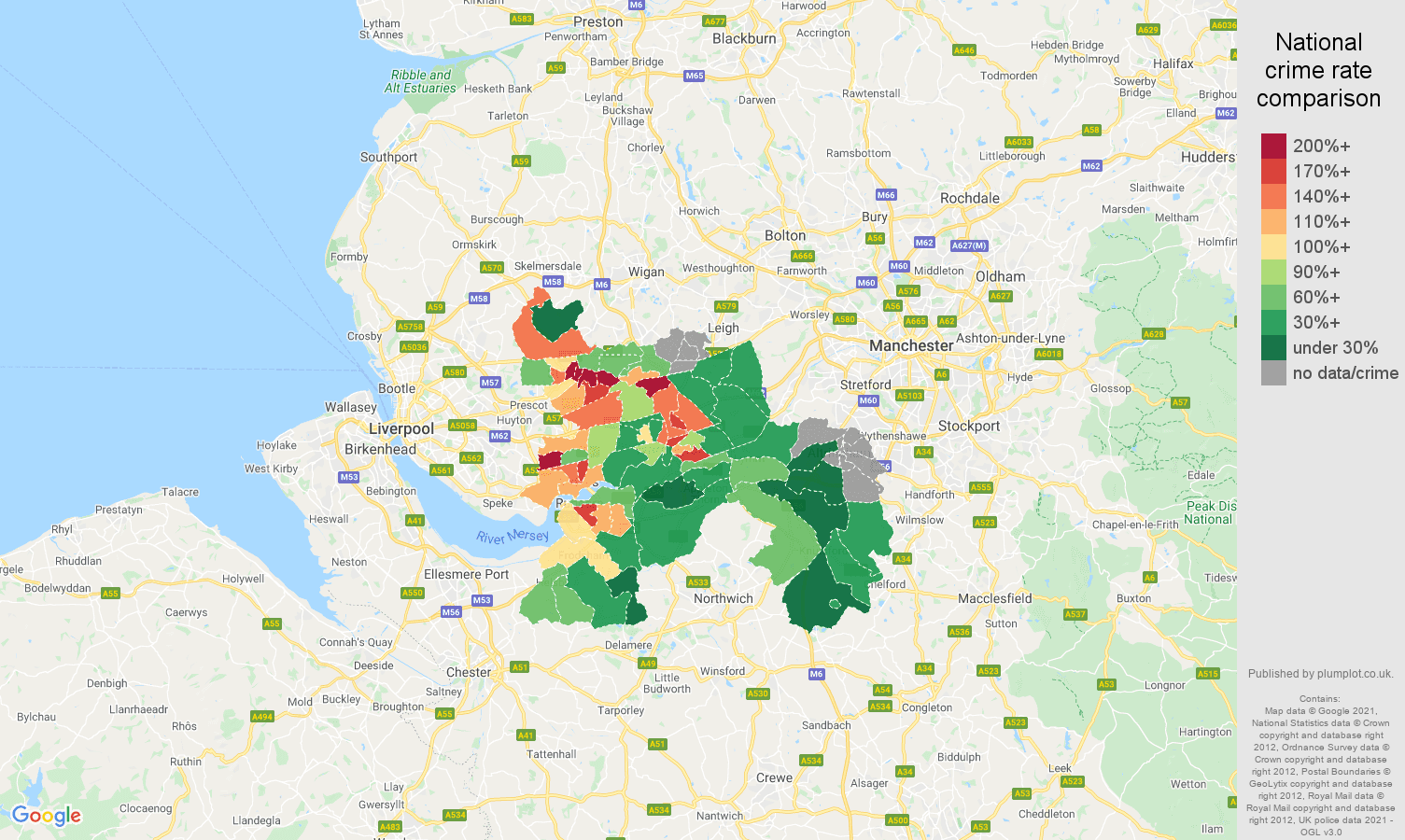 Warrington criminal damage and arson crime rate comparison map