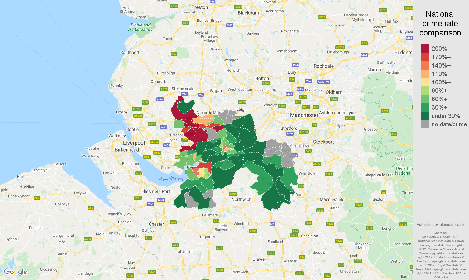Warrington drugs crime rate comparison map
