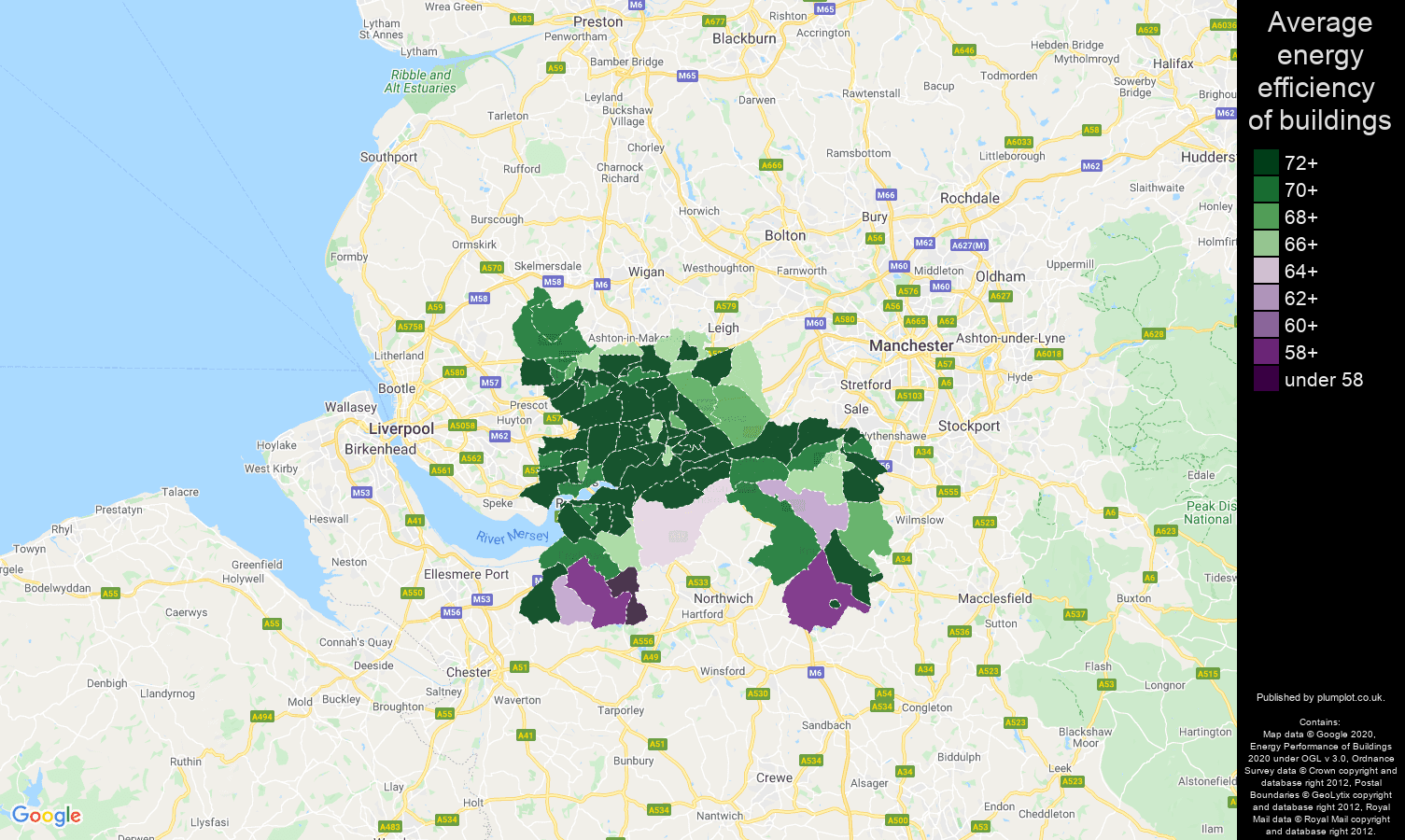Warrington map of energy efficiency of flats