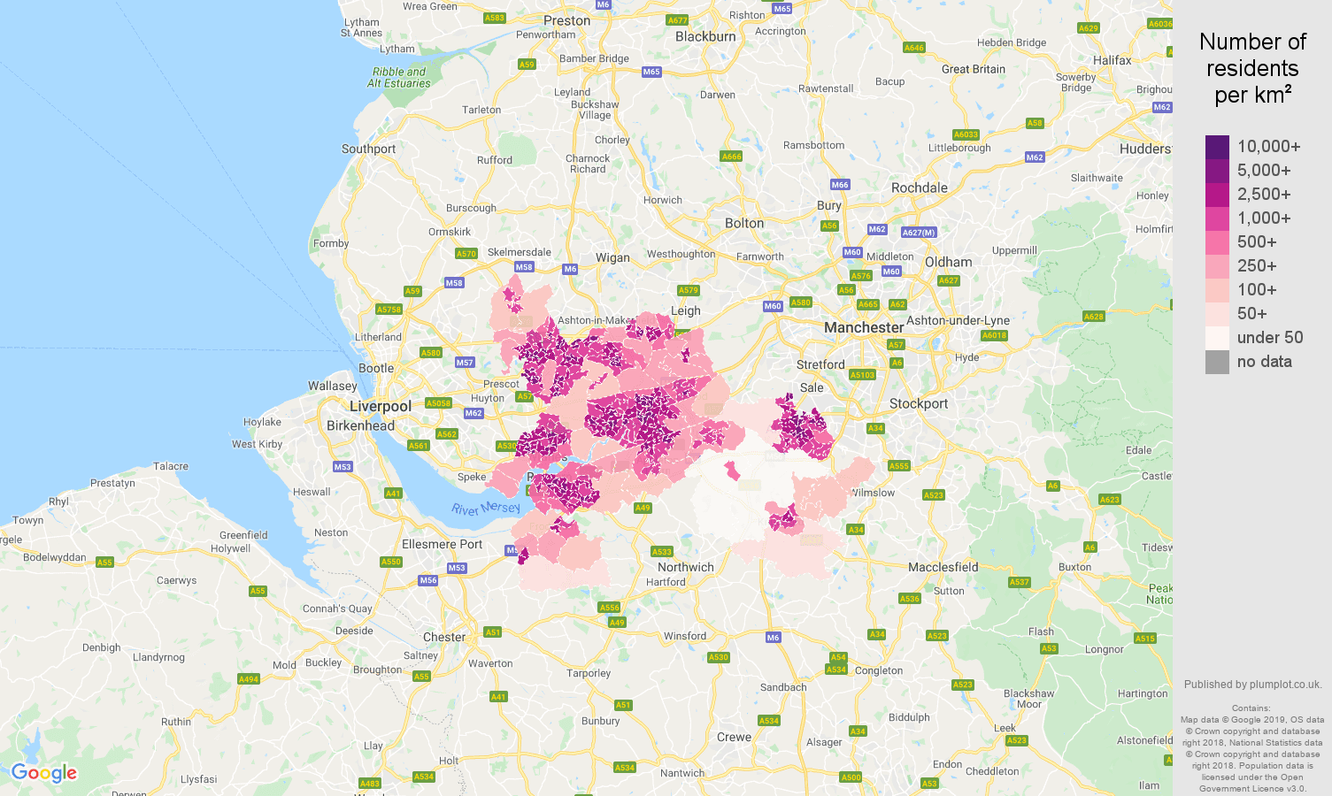 Warrington population density map