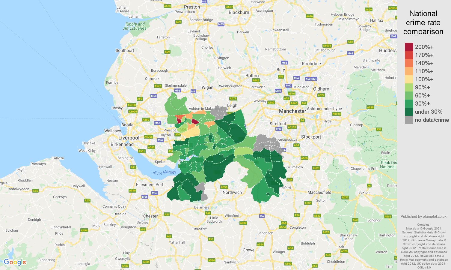 Warrington vehicle crime rate comparison map