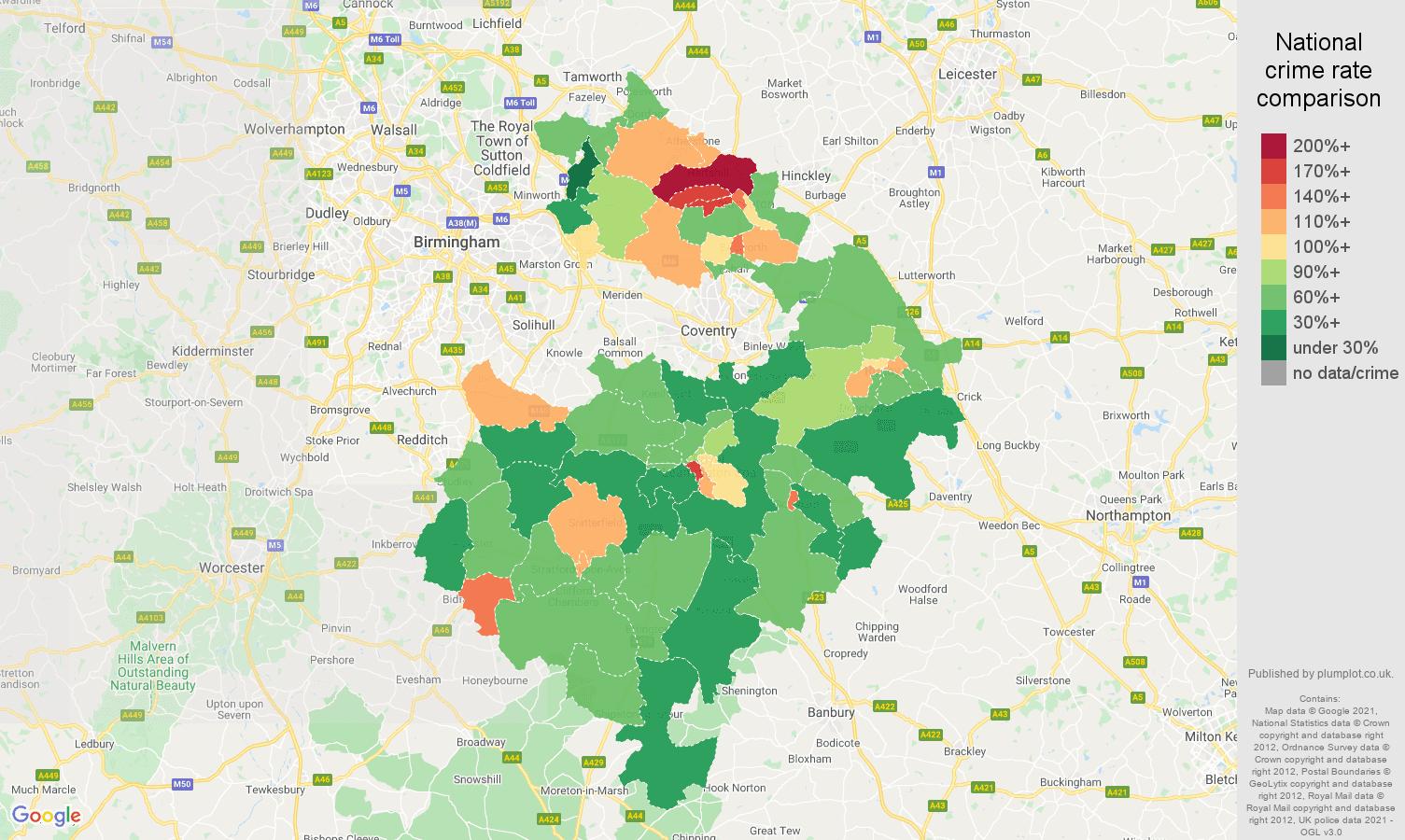 Warwickshire antisocial behaviour crime rate comparison map