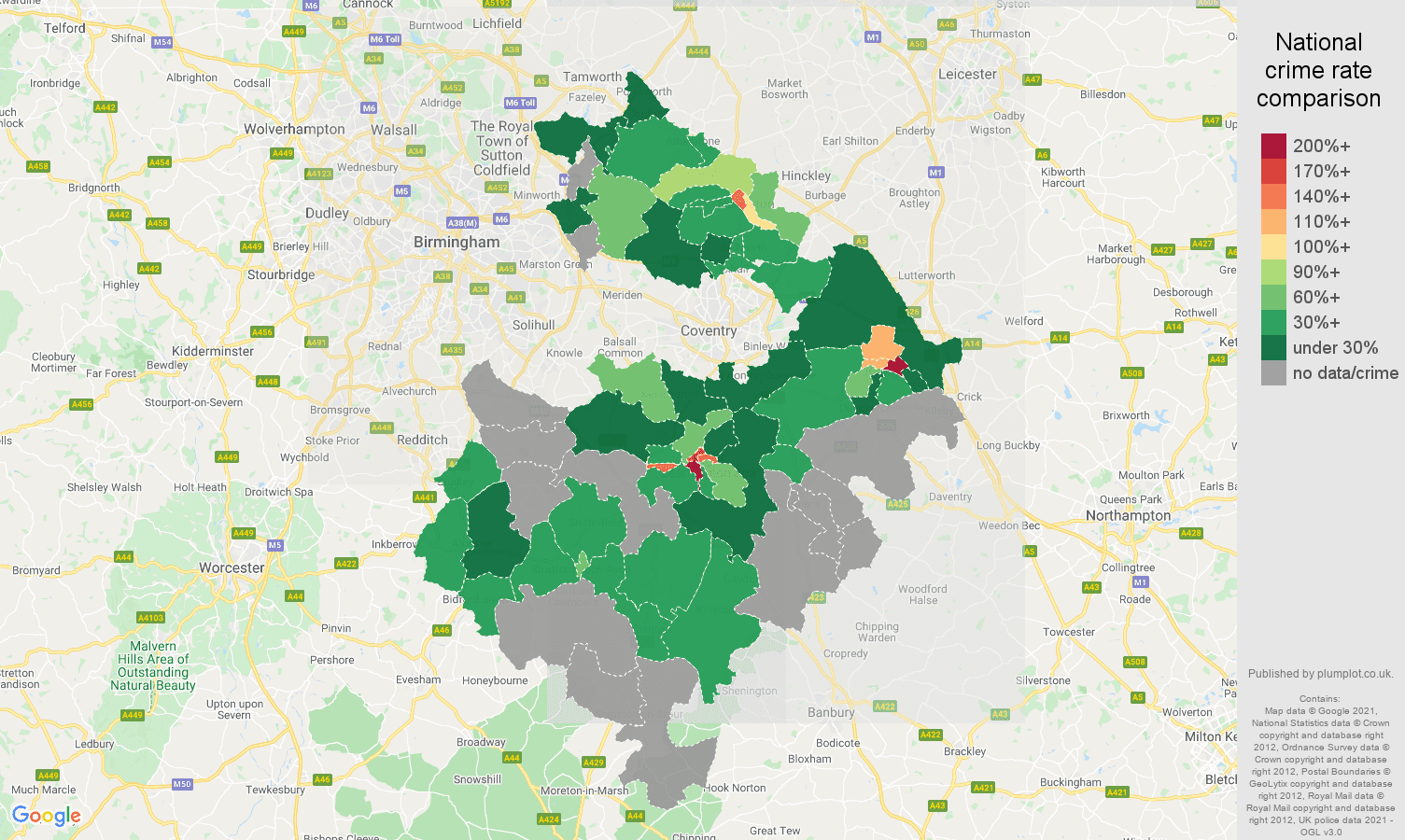 Warwickshire bicycle theft crime rate comparison map