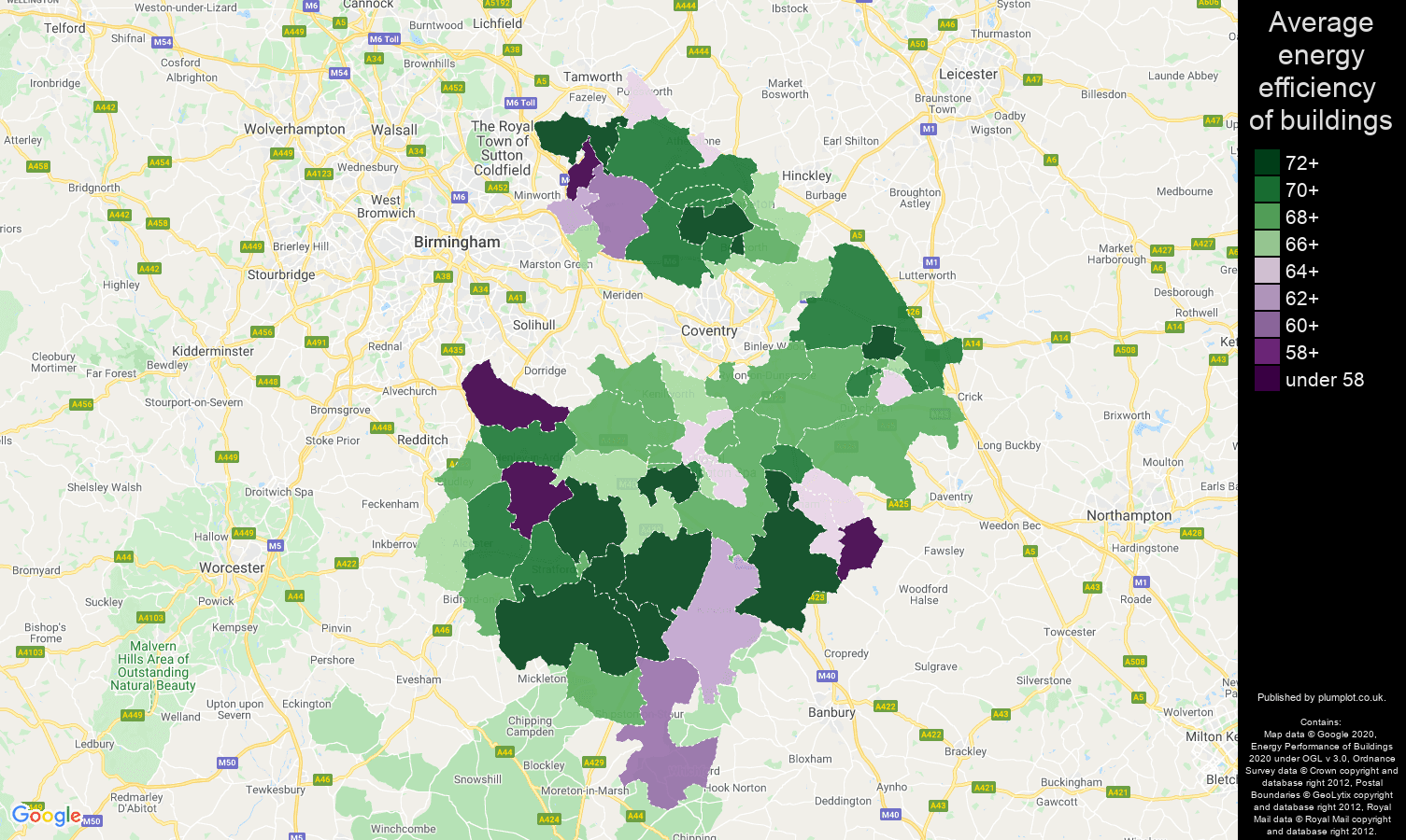 Warwickshire map of energy efficiency of flats