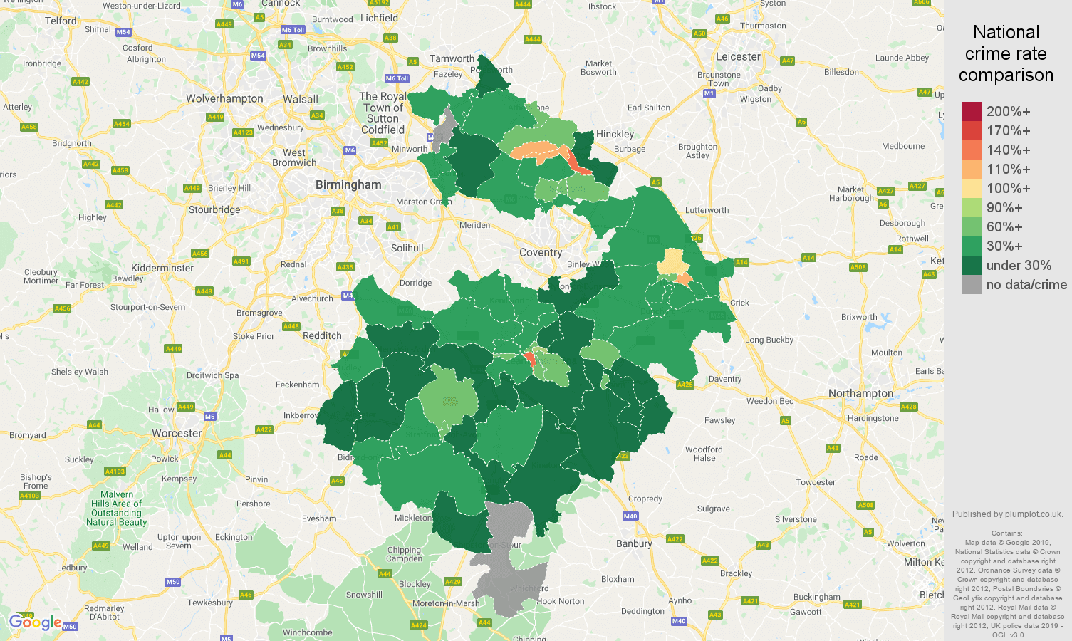 Warwickshire public order crime rate comparison map