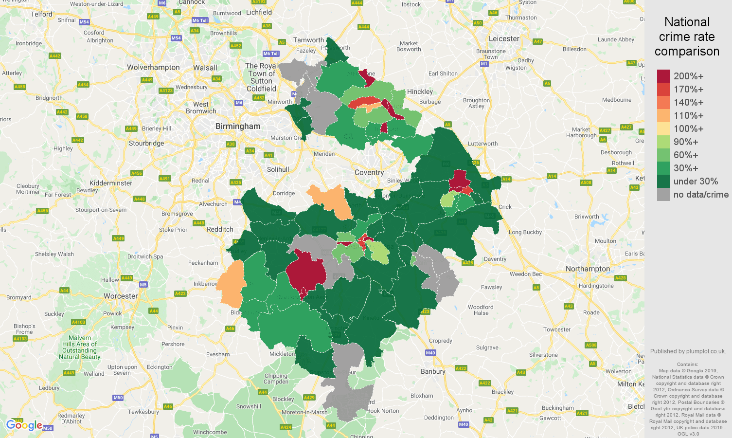 Warwickshire shoplifting crime rate comparison map