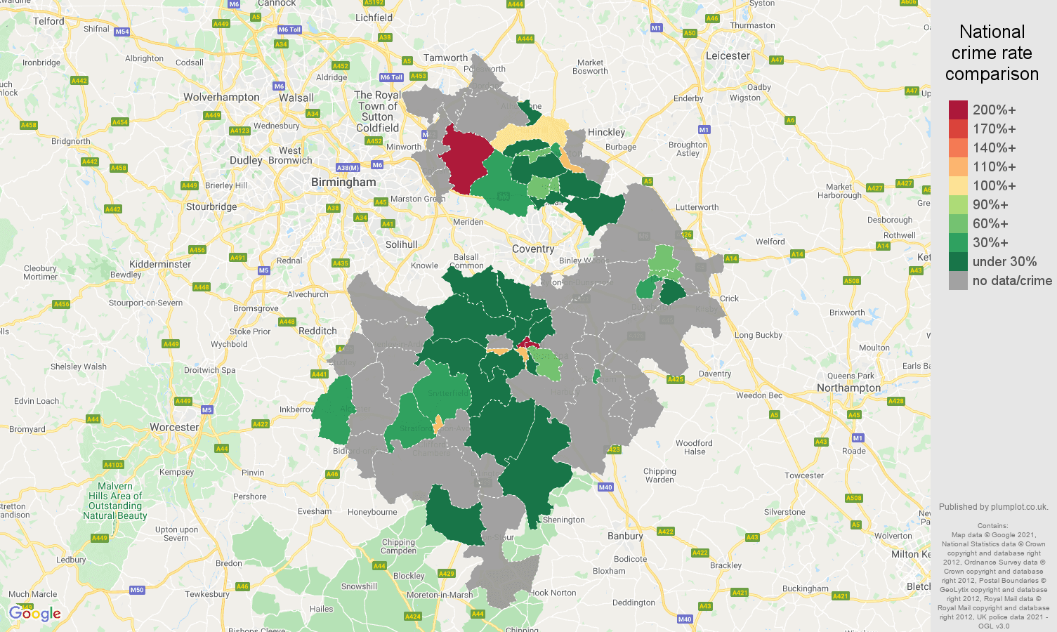 Warwickshire theft from the person crime rate comparison map