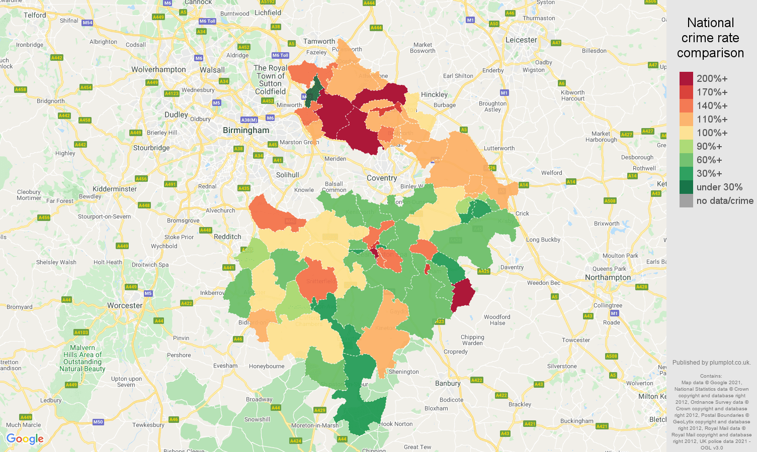 Warwickshire vehicle crime rate comparison map