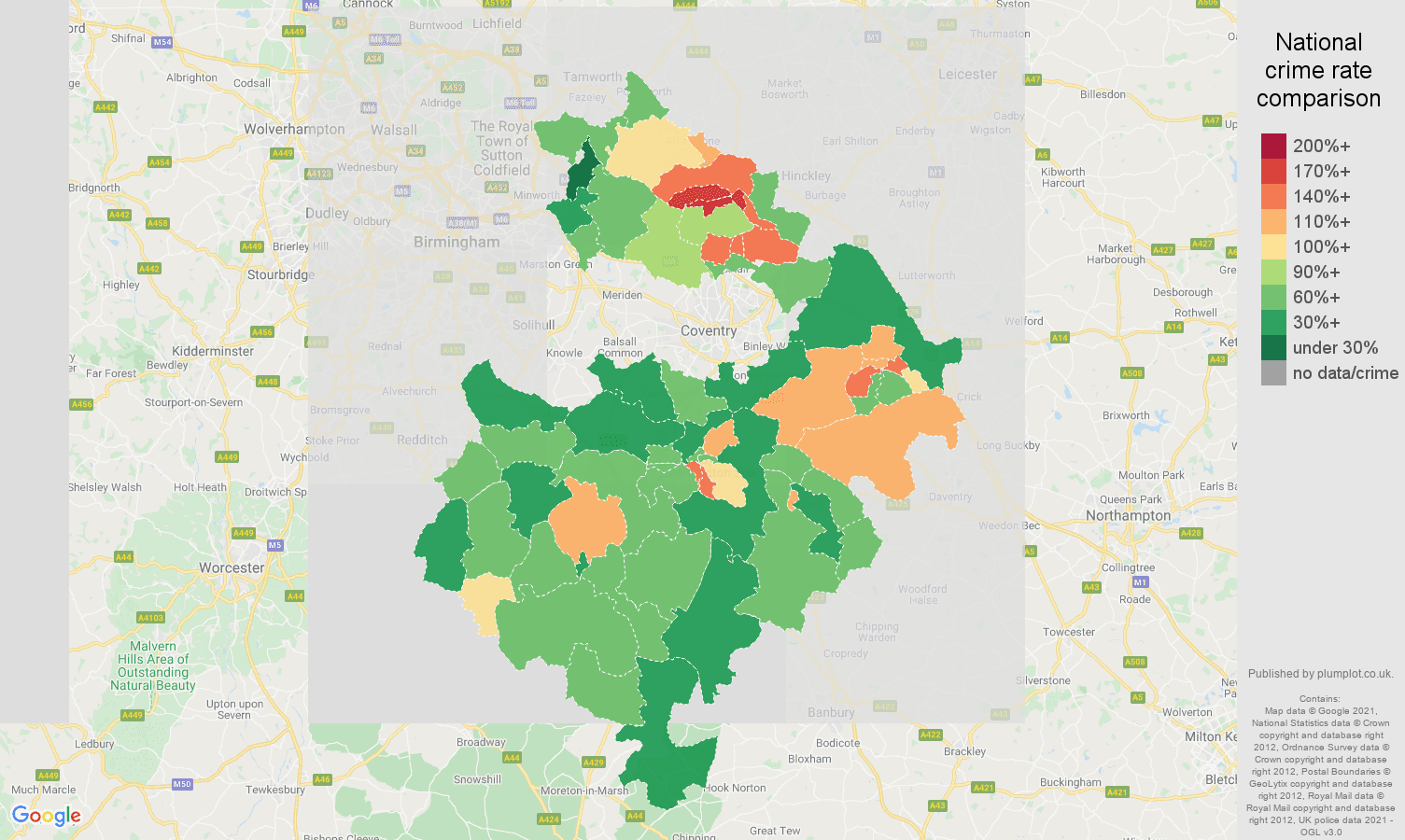 Warwickshire violent crime rate comparison map