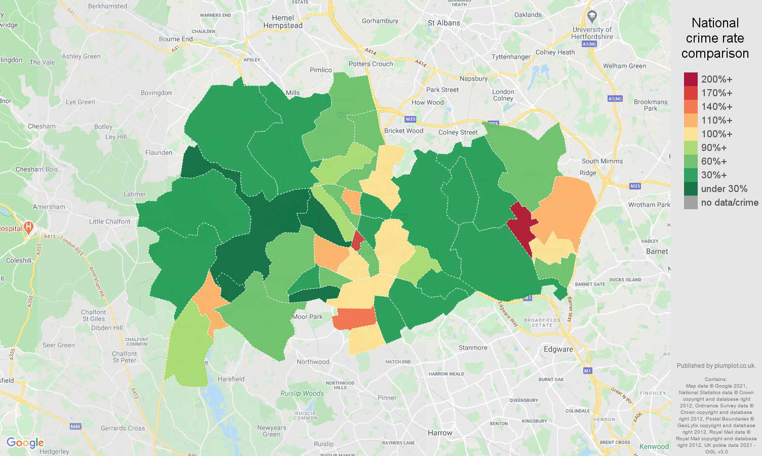Watford antisocial behaviour crime rate comparison map